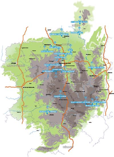 Carte de la route des villes d eaux routes touristiques