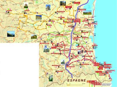 Carte de la route du vin en roussillon