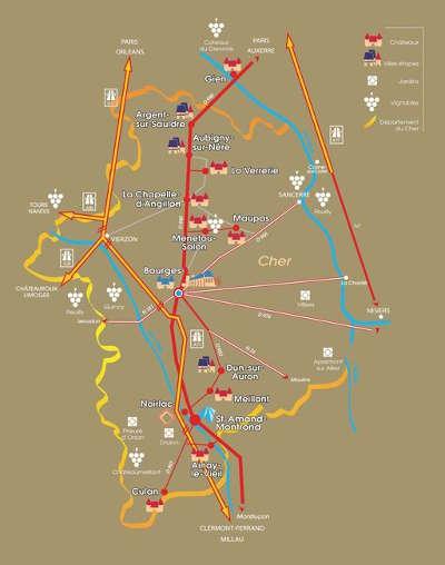 Carte de la route jacques coeur
