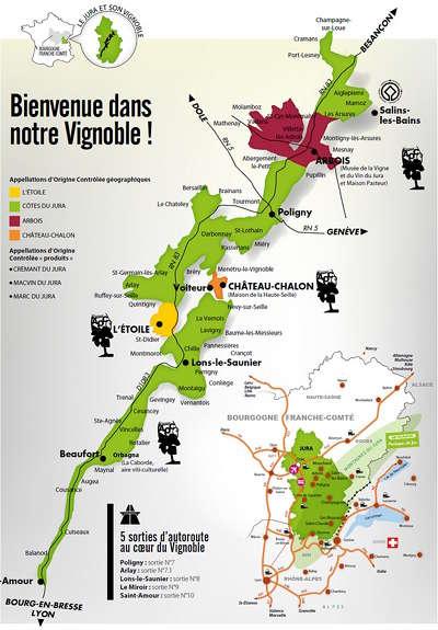 Carte Route Des Vins Bourgogne.La Route Des Vins Du Jura