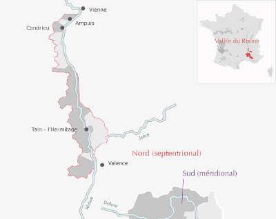 Carte les vignobles septentrionaux route des vins des cotes du rhone