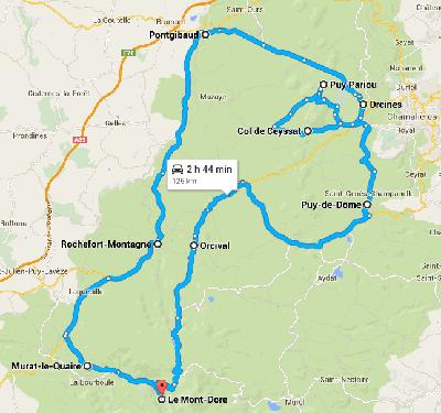 Carte route des volcans d auvergne route touristique