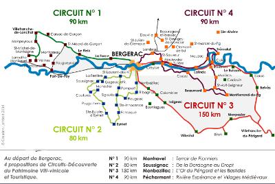 Plan des circuit de la route des vins de bergerac guide du tourisme de la dordogne