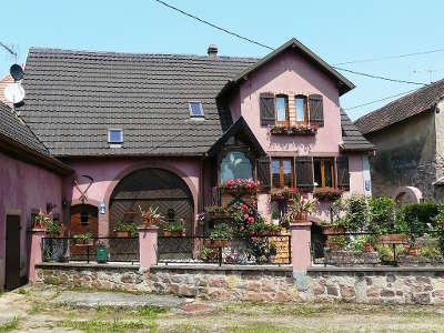 Saint pierre bois ancienne maison de viticulteur situee sur la rue principale renovee et decoree route des eaux de vie guide du tourisme du bas rhin alsace