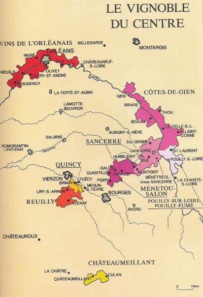 Vignoble du centre carte