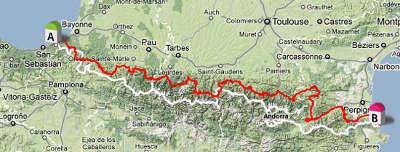 Carte de la route des cols des pyrenees