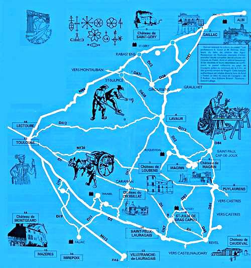 Carte route du pastel au pays de cocagne