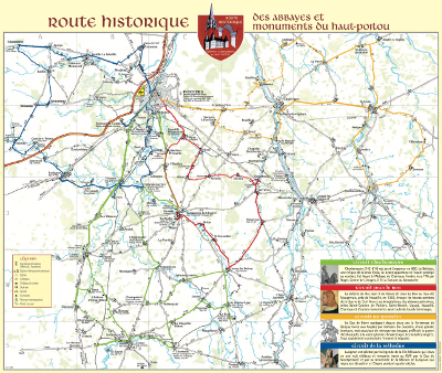 Carte route historique route des abbayes et monuments du haut poitou